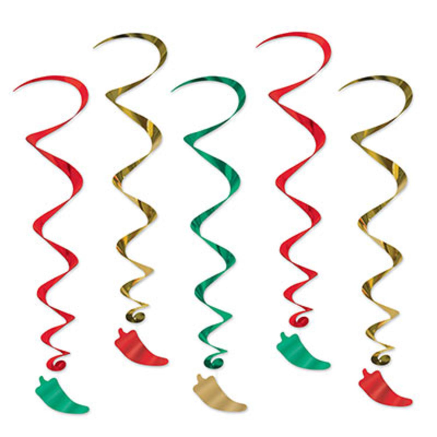 Pack of 30 Southwestern Chili Pepper Metallic Spiral Hanging Party Decoration Whirls 3'