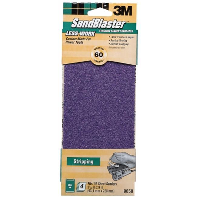 3m 3inch X 9inch 60 Grit SandBlaster Finishing Sander Clip-On Sandpaper 9650