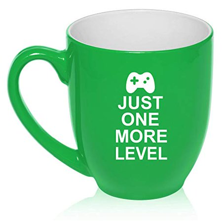 - 16 oz Large Bistro Mug Ceramic Coffee Tea Glass Cup Just One More Level Gamer Video Games (Green)