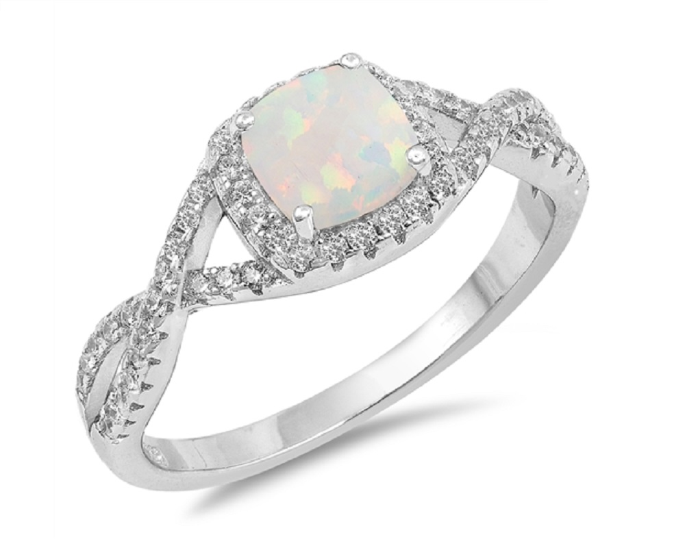 Cushion Cut White Simulated Opal Center Clear Cubic Zirconia Wave Mystere Ring Sterling Silver by