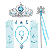 Princess Dress Up Accessories Gift Set for Elsa Cinderella Crown Scepter Necklace Bracelet Earrings Rings Gloves (7pcs Blue)