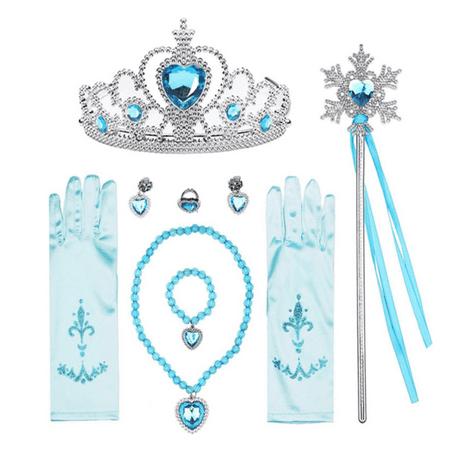 Cinderella Work Dress Costume (Princess Dress Up Accessories Gift Set for Elsa Cinderella Crown Scepter Necklace Bracelet Earrings Rings Gloves (7pcs)
