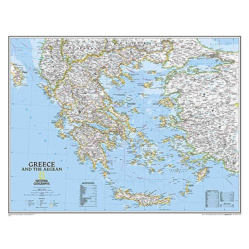 National Geographic: Greece Classic Wall Map - Laminated (30.25 X 23.5 Inches)