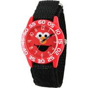 Elmo Boys' Red Plastic Time Teacher Watch, Black Hook and Loop Nylon Strap