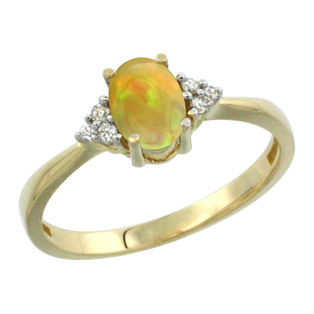 10K Yellow Gold Diamond Natural Ethiopian HQ Opal Engagement Ring Oval 7x5mm, sizes 5-10 by WorldJewels
