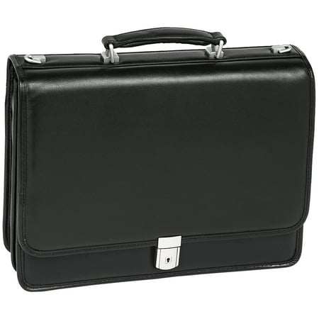 McKlein BUCKTOWN, Double Compartment Laptop Briefcase, Full Grain Cashmere Napa Leather, Black (43545)