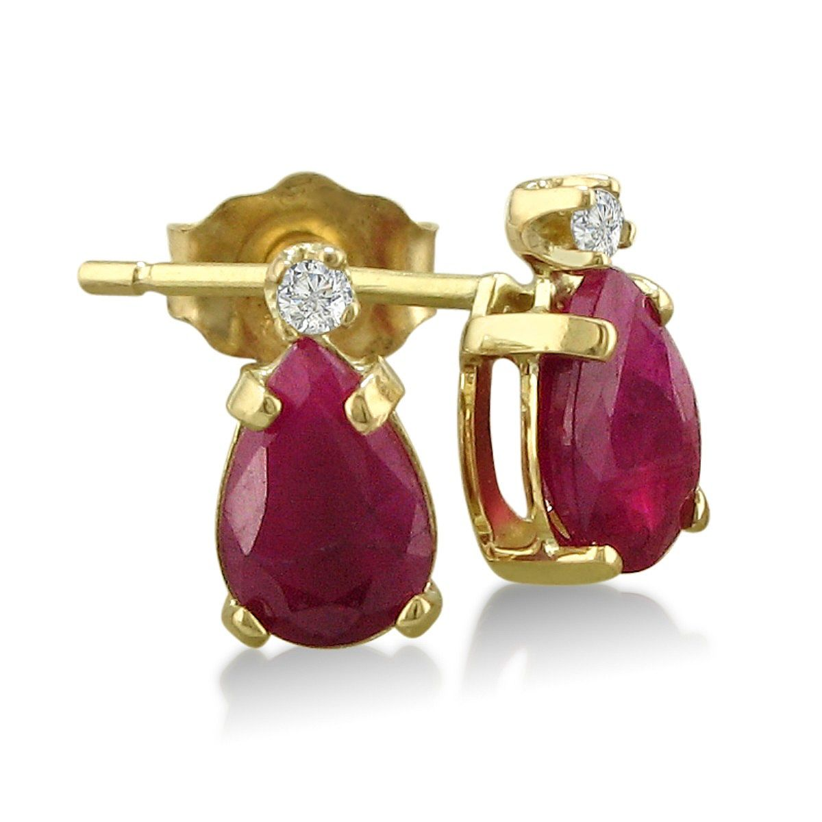1 1/4ct Pear Shaped Ruby and Diamond Earrings in 14k Yellow Gold