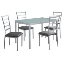 Monarch Dining Set 5Pcs Set / Silver / Frosted Tempered Glass
