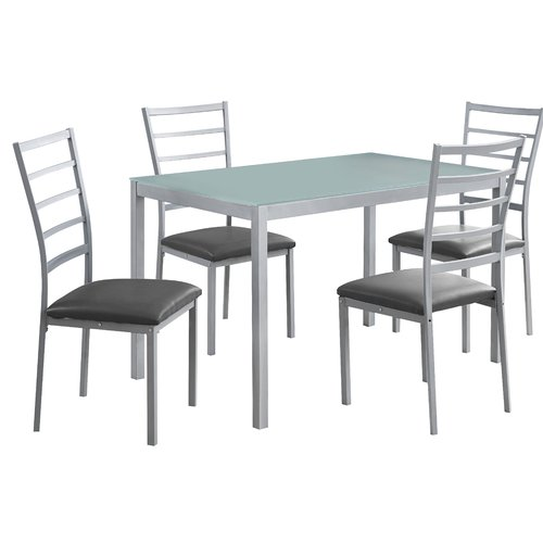 Monarch Dining Set 5Pcs Set / Black Metal /Black Tempered Glass