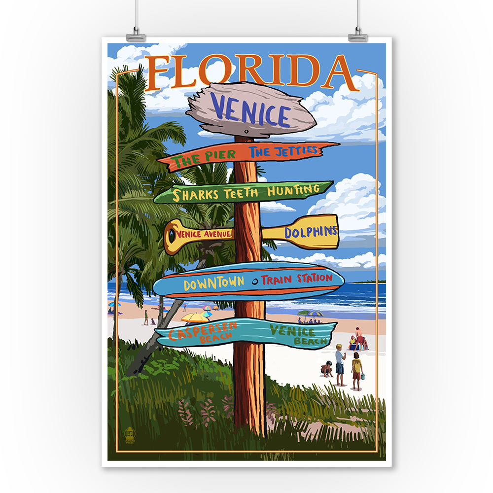Venice, Florida Sign Post Lantern Press Artwork (9x12 Art Print, Wall Decor Travel Poster) by Lantern Press