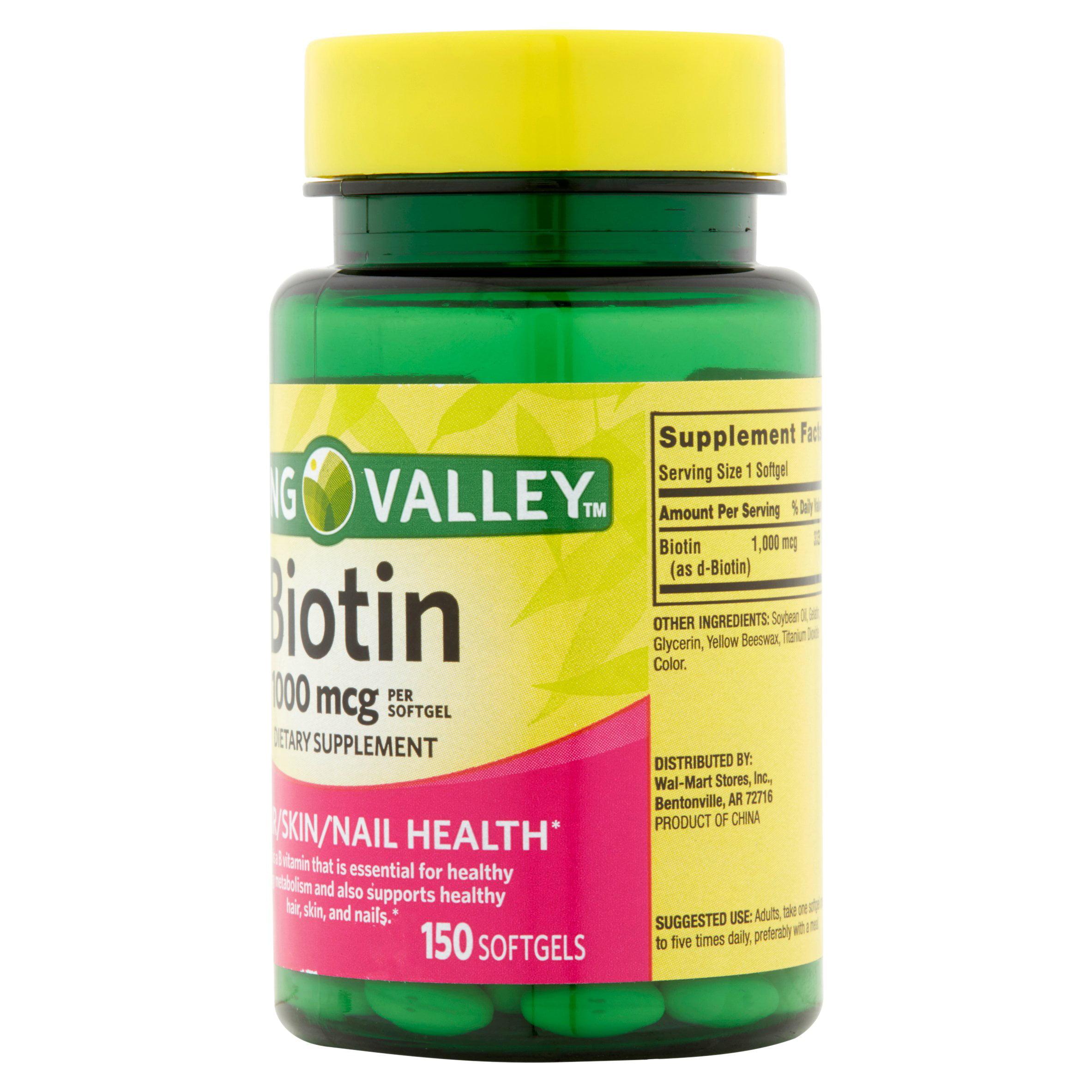 Spring Valley Biotin Softgels 1000 Mcg 150 Ct Walmart Com