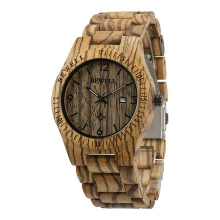 BEWELL Fashion Zebrawood Wood Wrist Bamboo Watch Night Vision Quartz Men
