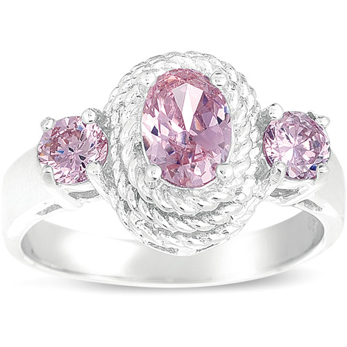 Pink CZ Oval Ring in Sterling Silver