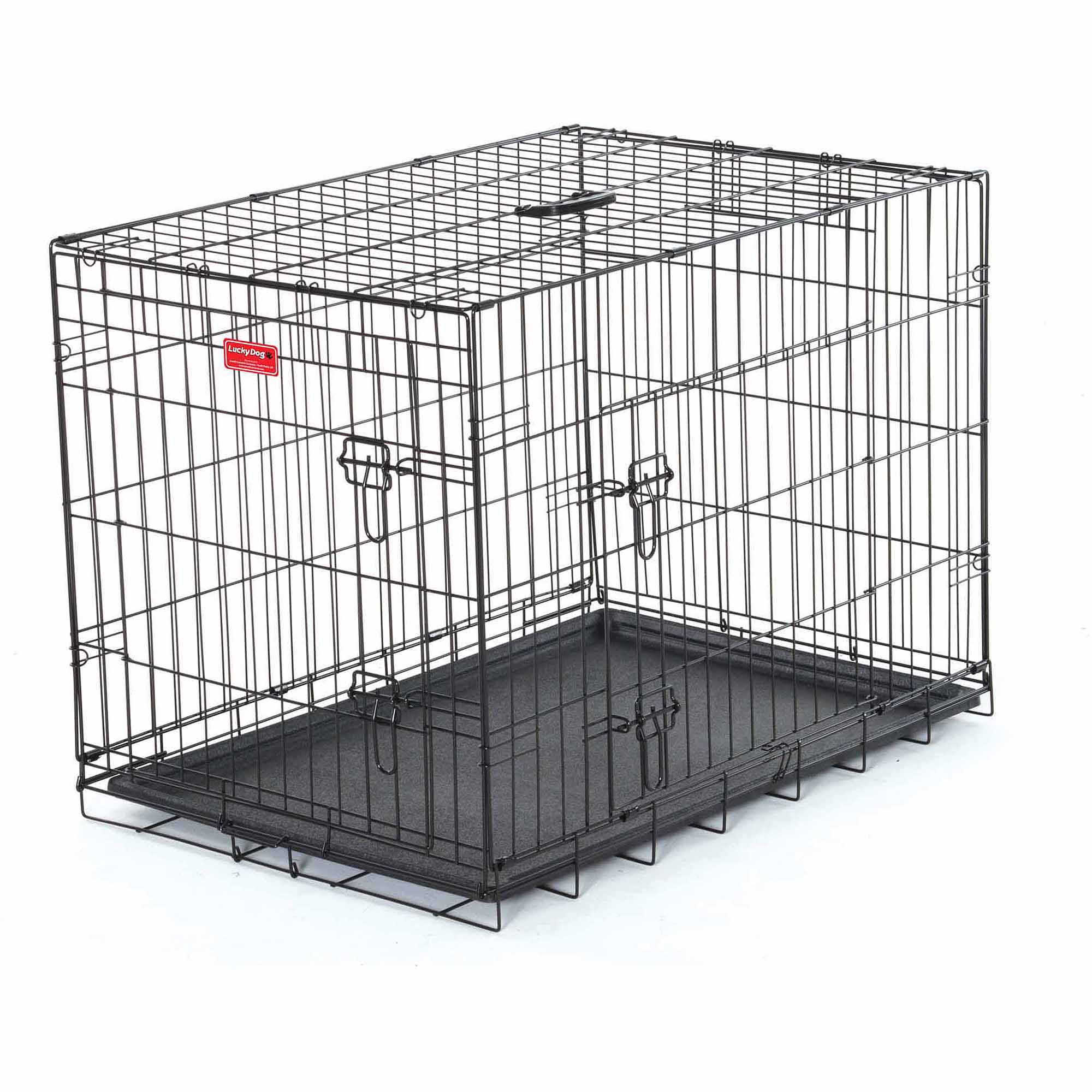 "30""L Lucky Dog Folding Black Wire 2 Door Training Crate"