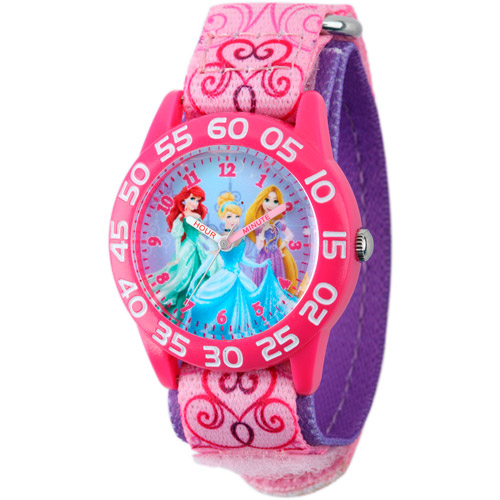 Disney Princess Girls' Plastic Case Watch, Pink Printed Nylon Strap