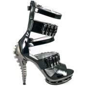Hades Shoes H-Bullet Sexy Skeleton Sandal with spike rivets & mock bullets 6 / Burgundy