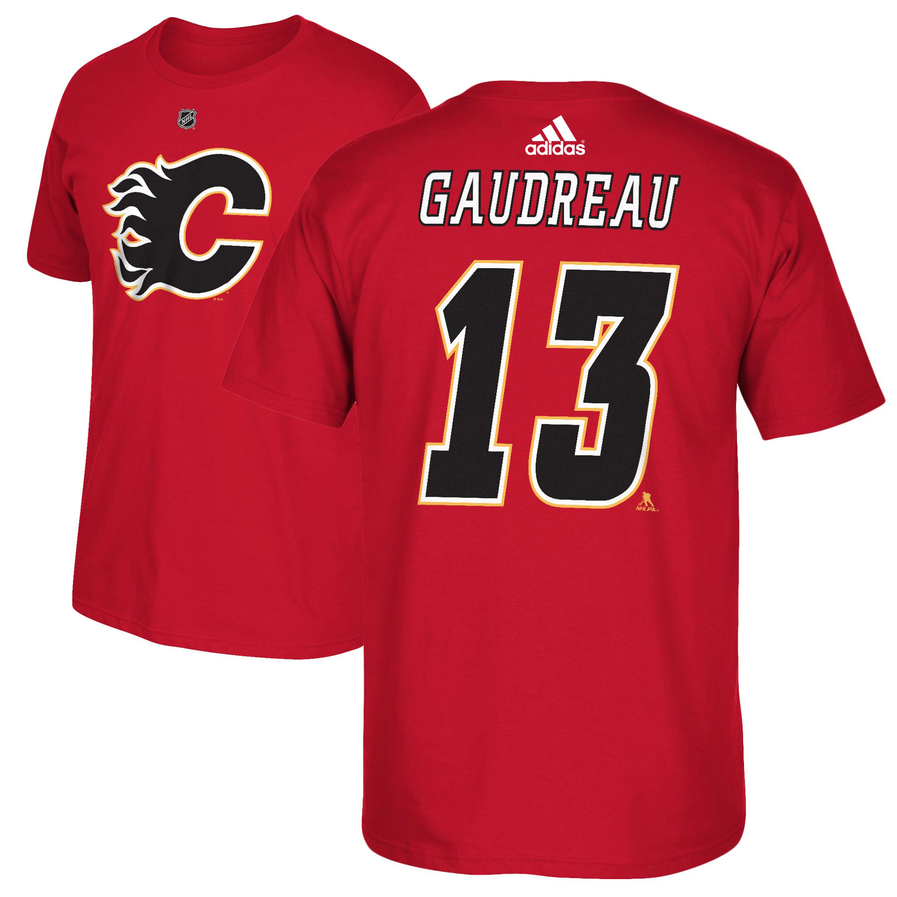 Calgary Flames Johnny Gaudreau Adidas NHL Silver Player Name & Number T-Shirt - image 2 de 2