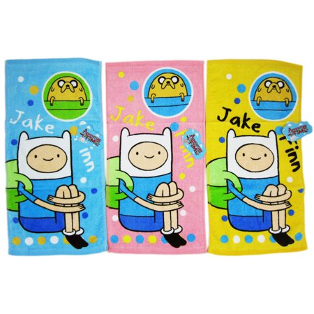 Adventure Time Jake and Finn Blue Yellow and Pink Colored Hand Towel Set (3 Towels) ()