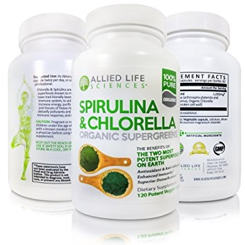 Allied Life Spirulina and Chlorella - Organic Chlorophyll Vegan Protein Powder Capsules 120 caps