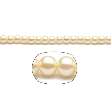 8mm Round Cream-Tone Champagne Glass Pearls 2x16Inch Strings/pack (5-pack Value Bundle), SAVE $4