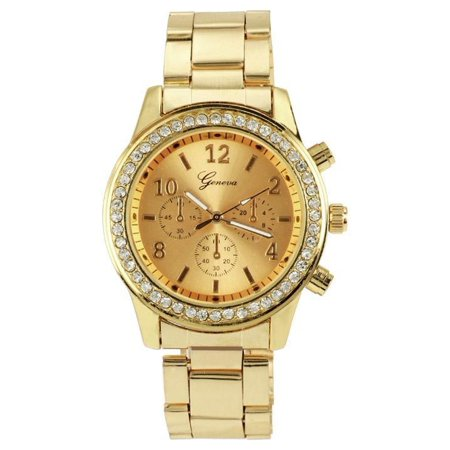 Gold Silver Wrist Watch (Fashion Ladies Women Girl Unisex Steel Analog Quartz Wrist Watch VAF)