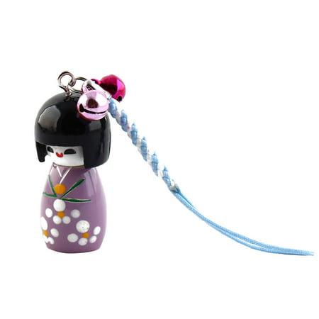 Phone Dual Bell Design Kokeshi Doll Pendant Ornament
