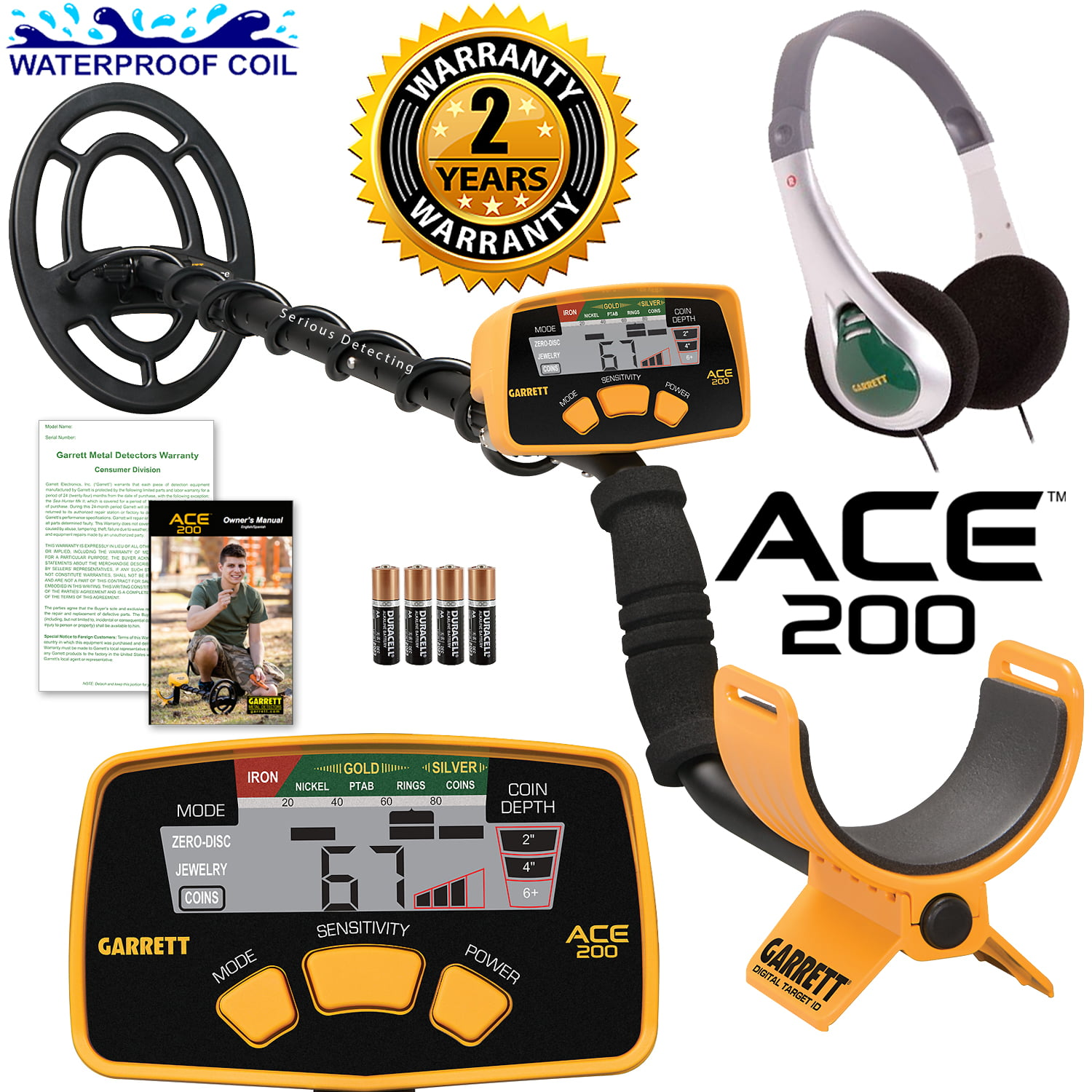 Garrett ACE 200 Metal Detector with Waterproof Search Coil and Headphones by Garrett