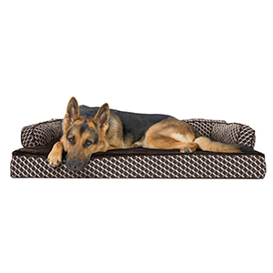 FurHaven Pet Dog Bed | Orthopedic Plush & Decor Comfy Couch Sofa-Style Pet Bed for Dogs & Cats, Diamond Brown, Jumbo
