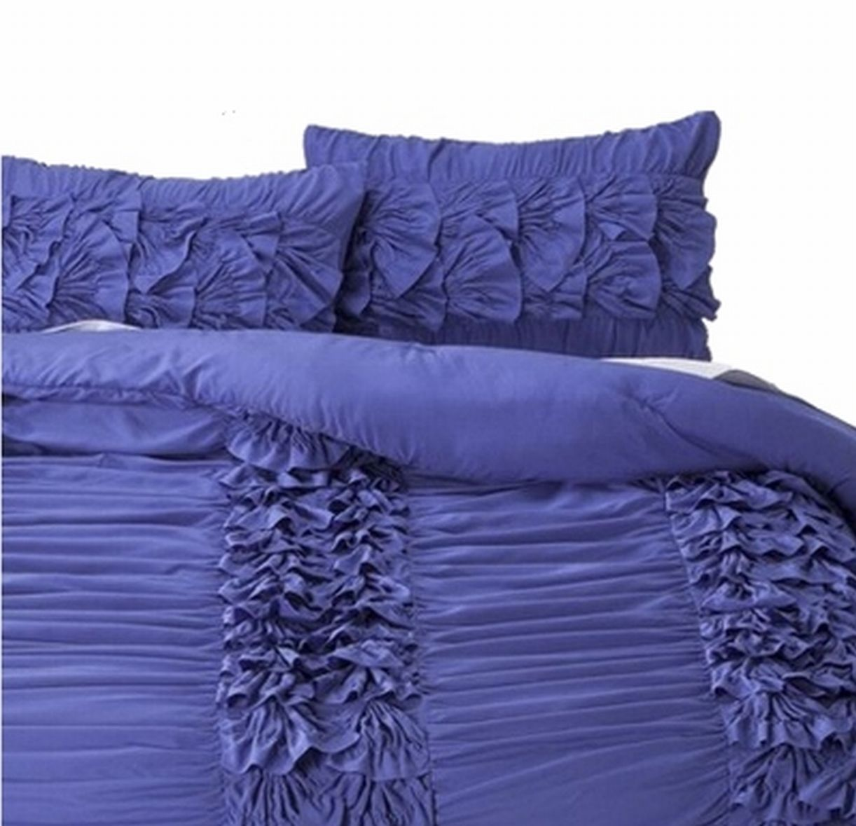 Twin XL Purple Violet Layered Ruffle Comforter & Sham Set