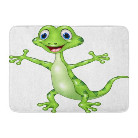 - GODPOK Happy Gecko Cartoon Funny Green Lizard Posing White Standing Adorable Rug Doormat Bath Mat 23.6x15.7 inch