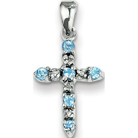 Bleu Or blanc 14 ct Topaz & Diamond Cross (de 11x22mm) Pendentif / Breloque - image 2 de 2