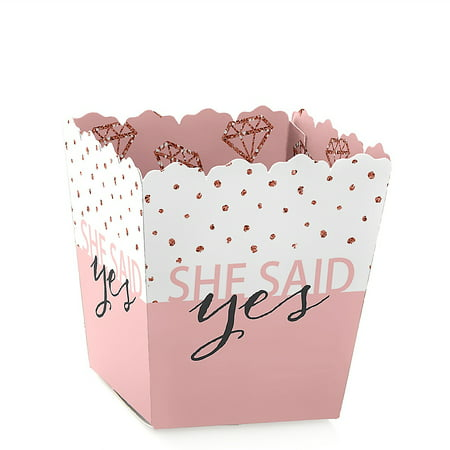 Bride Squad - Party Mini Favor Boxes - Rose Gold Bridal Shower or Bachelorette Party Treat Candy Boxes - Set of 12  (Mini Rose Favors)