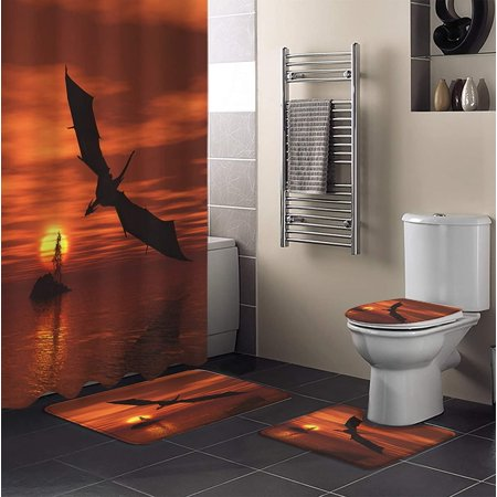 Shower Curtain Set Pterodactyls Soar, Lake Bathroom Decor