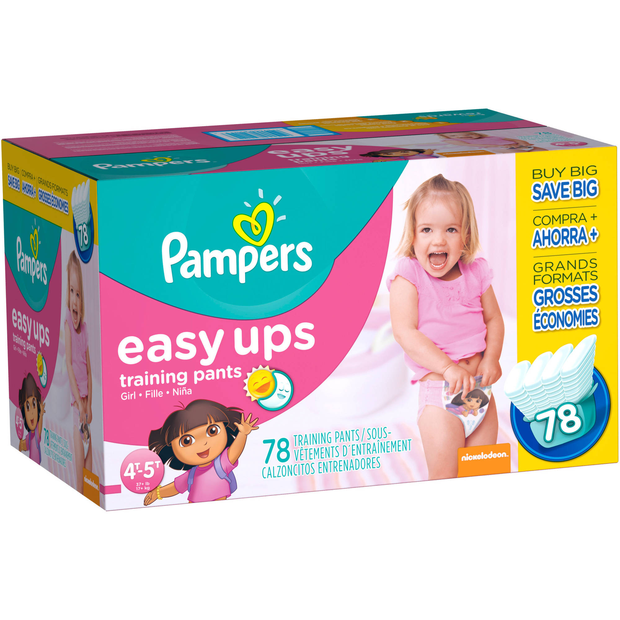 Pampers Easy Ups Training Pants Pull On for Girls Size 4 (2T-3T) 26 ea 2pk See more like this Pampers Easy Ups Training Girls Underwear, Size 6 (4T-5T), Ct (New) Brand New.
