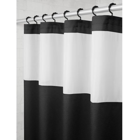Mainstays Hendrix View Fabric Shower Curtain With Attached Roller Glide Hooks 70 Inch X 72 Black White Stripe