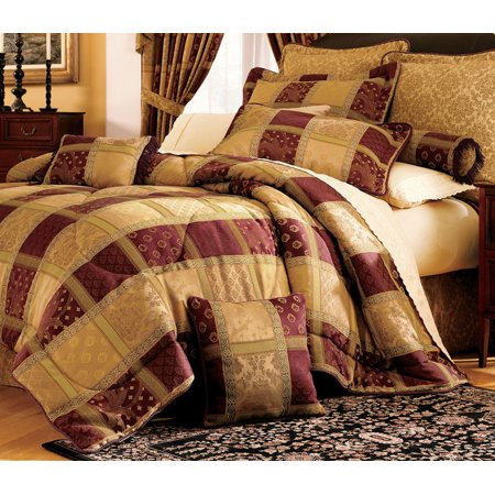 Embroidery Patchwork Comforter (7 Piece Burgundy Jewel Patchwork Comforter Set)