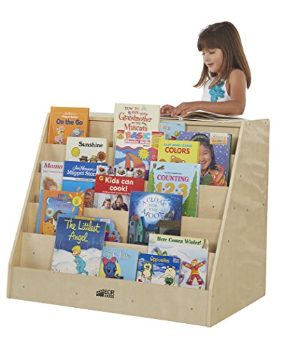 ECR4Kids Birch Book Display Stand, Natural Front Display by