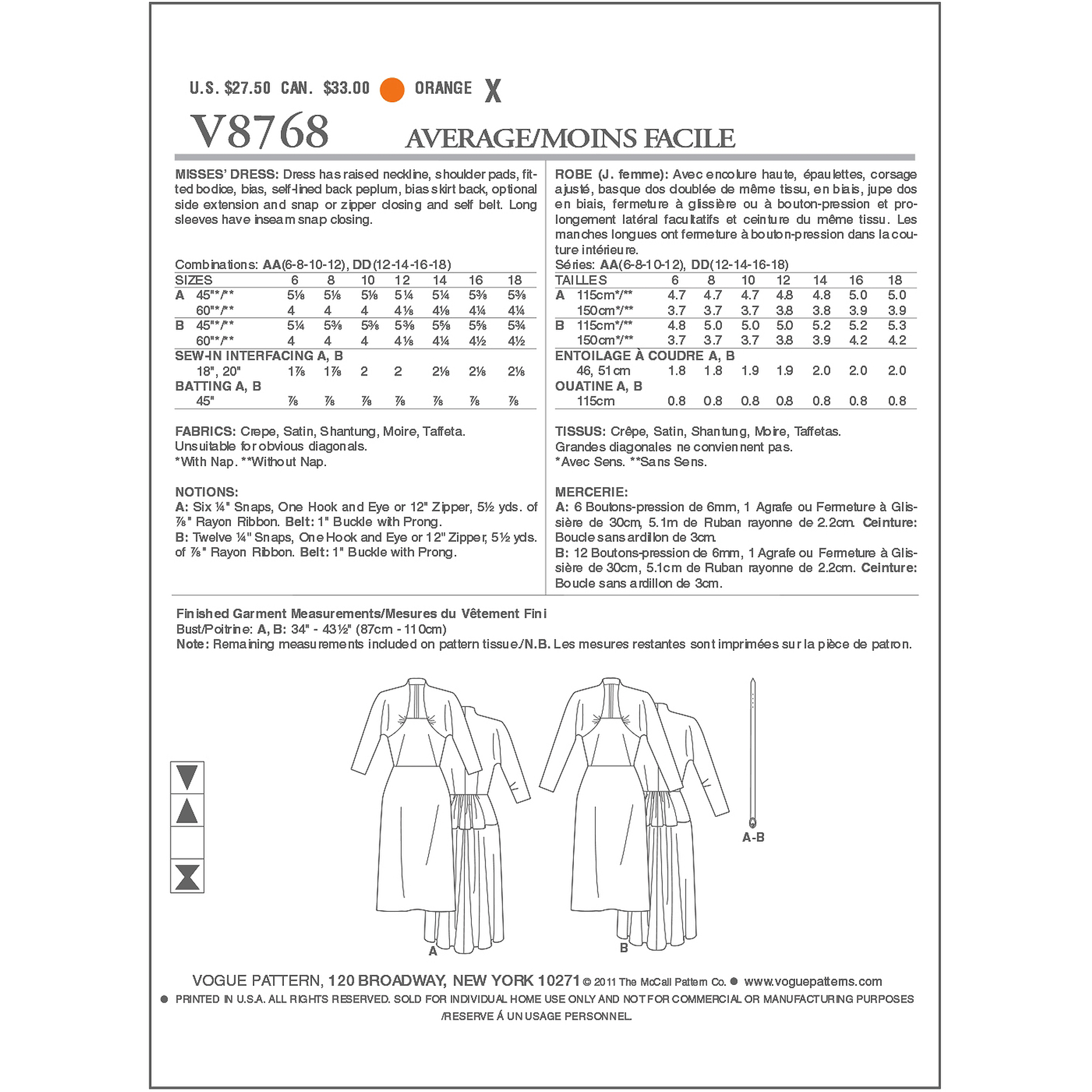 Misses' Dress-AA (6-8-10-12) -*SEWING PATTERN*
