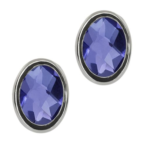 1.30 Ct Oval Checkerboard Blue Iolite Sterling Silver bezel Stud Earrings 7x5mm
