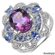 JEWELRYAUCTIONSTV Sterling Silver Amethyst/ Blue Topaz and Tanzanite Ring