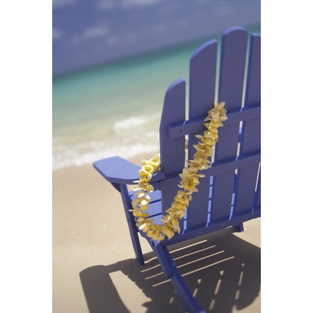 Close-Up Side Of Blue Beach Chair With Plumeria Hanging On Side Stretched Canvas - Dana Edmunds  Design Pics (12 x 19)