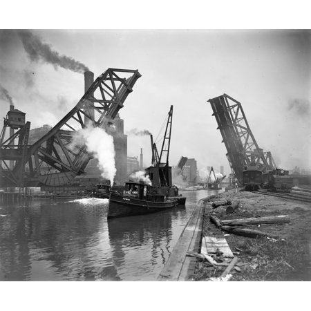 Chicago Bridge C1900 Nthe Steamboat Ab Ward Passing Under The Drawbridge At 12Th Street On The Chicago River In Chicago Illinois Photograph C1900 Rolled Canvas Art     24 X 36