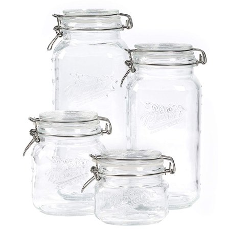 4pc Mason Clamp Jar Set, Durable Mason Glass Construction By Mason Craft More](Mason Jar Wine Glasses Bulk)