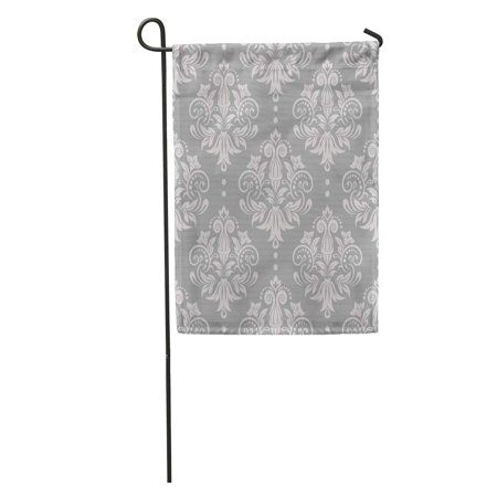 SIDONKU Gray Pattern Damask Silver Floral Victorian Modern Lace Baby Garden Flag Decorative Flag House Banner 12x18 inch ()