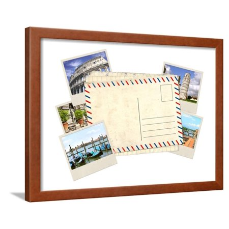 Memories of Italy. Old Post Card and Photos Framed Print Wall Art By frenta
