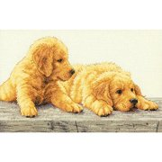 Dimensions Counted Cross-Stitch Kit, Golden Retriever Puppies