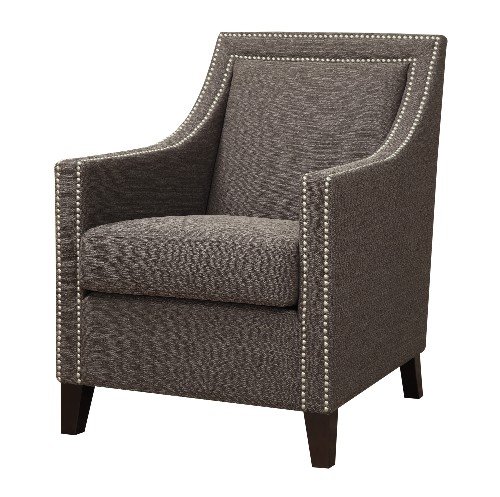 Emerald Home Janelle Brown Accent Chair with Fixed Back And Double Nailhead Trim