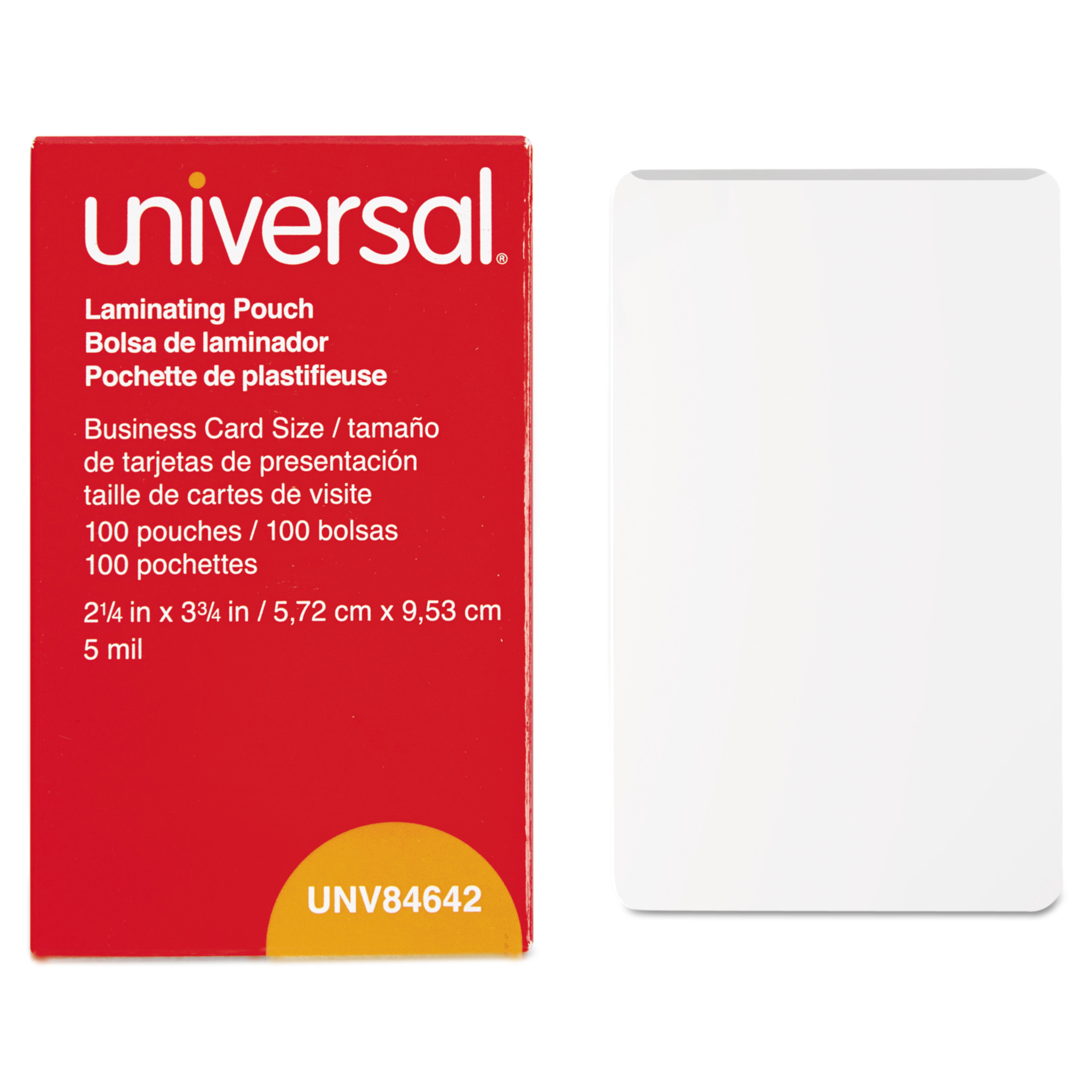 Universal Clear Laminating Pouches, 5 mil, 2 1/4 X 3 3/4, Business ...