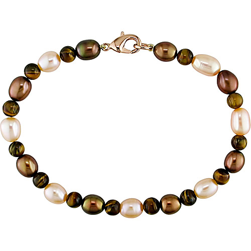 6-6.5mm Peach and Brown Cultured Freshwater Pearl and 5mm Tiger's Eye Bead Bracelet