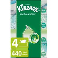 Kleenex Soothing Lotion Facial Tissues, 4 Flat Boxes, 110 Tissues per Box (440 Tissues Total)